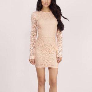 Cream lace long sleeve dress
