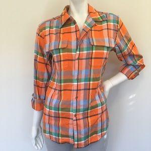 RALPH LAUREN Orange Flannel Button Down