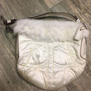 Rabbit Fur Trim Coach Bag