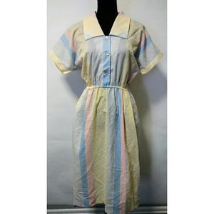 Vintage 80's retro stripe pastel dress
