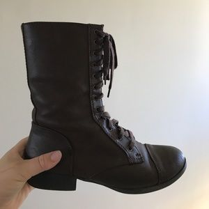 Dark Brown Laced Combat Boots