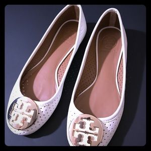 Tory Burch Ivory Gold logo Perforated Reva ballet