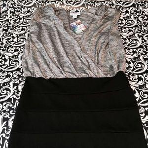 Silver and black sleeveless bandage dress