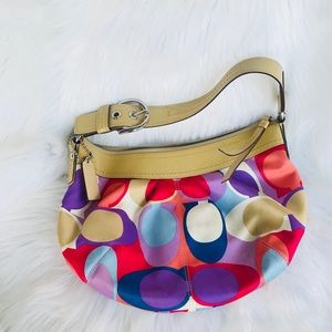 Coach  Canvas Monogram and Patent Leather Hobo Bag