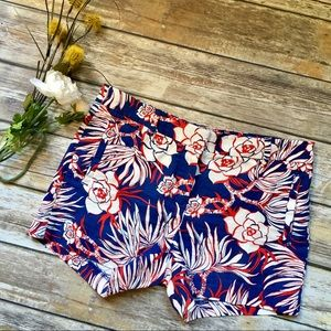 J. CREW Blue & Red Floral Shorts - 6