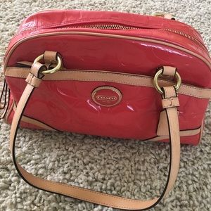 Paten leather Coach handbag in orange
