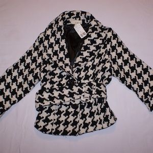 Womens Black & White Peacoat Size Medium Waist Tie