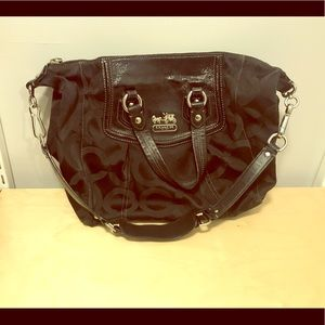 Black Coach Handbag with tonal C logo