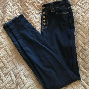 7 For All Mankind Button Fly Denim Skinny Jeans