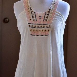 Topshop White India Embroidered Tank Top