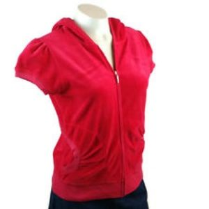 Juicy Couture short sleeve hooded zip up size M