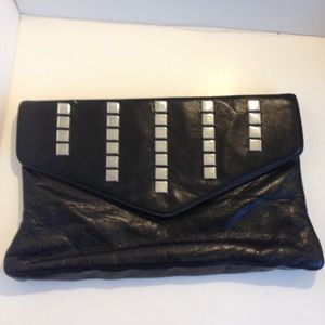 Vintage 1980's  leather studded clutch