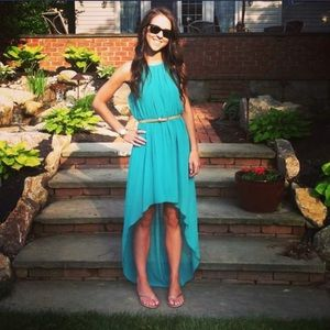 Charming Charlie Teal Green High Low Dress