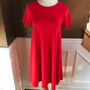 LulaRoe Solid Red Carley Dress NWOT