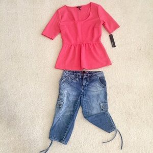 NWT Daisy Fuentes pink peplum top