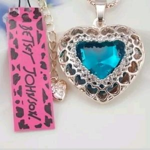 Betsy Johnson Blue Crystal Heart Pendent Necklace