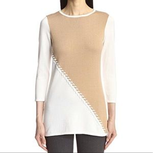 Color Block Stitched Tunic Sweater