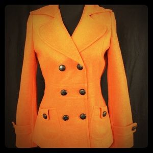 Forever 21 Orange Wool Blend Pea Coat Medium