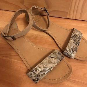Flat Snake Skin Sandals