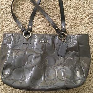 Gray paten leather Coach handbag