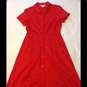 Kate Spade Red Harriet Shirt Dress Like New