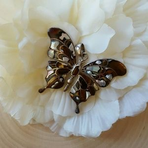 Gorgeous abalone sterling silver butterfly pendant