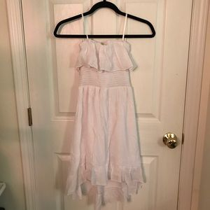 White High-Low Ruffled Dress