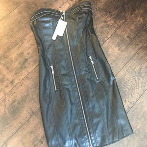 Dresses & Skirts - Faux Vegan Leather Black Zipper Corset Dress