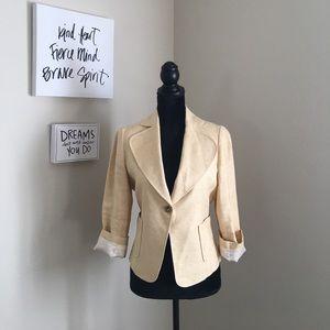 Zara Light Yellow Blazer Linen & Silk