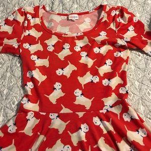 Lularoe Nicole dress with westie dog print