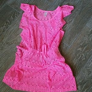 Justice girl's pink swim cover dress crochet 10