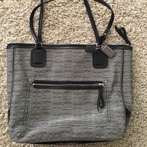 Black and grey Coach handbag