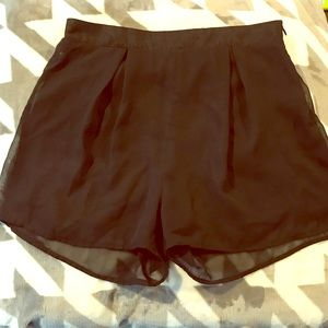 Charlotte Russe - Black Flowy High Wasted Shorts