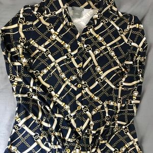 Ann Taylor Navy Blue and Gold buttoned up shirt