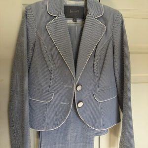 Seersucker pant suit.