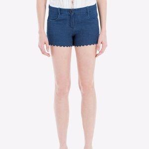 Max Studio Scallop Hem Cotton Denim Shorts
