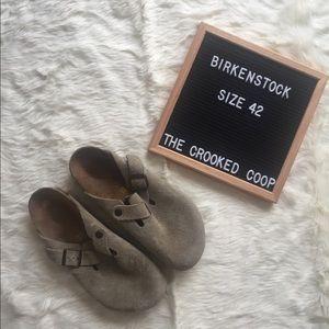 Birkenstock Suede Boston Clogs