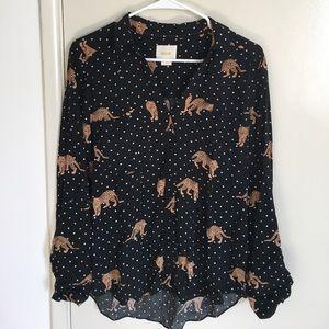 Navy leopard blouse