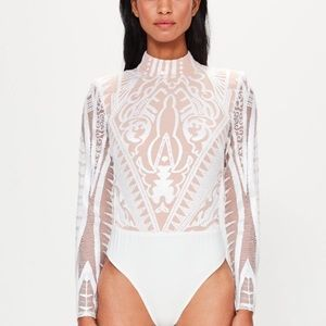 Missguided Peace and Love Lace Highneck Bodysuit