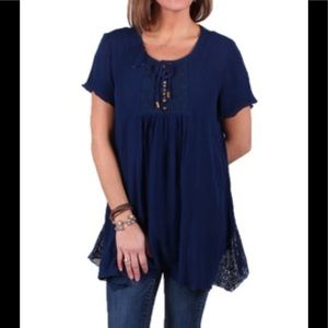 Lace Insert Boho Top NWT