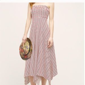 Anthropologie Mauve strapless maxi dress tie back