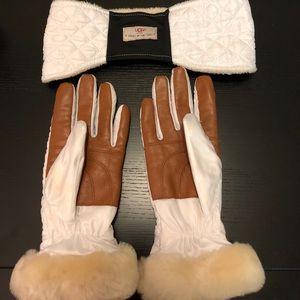 UGG fur white winter gloves & headband