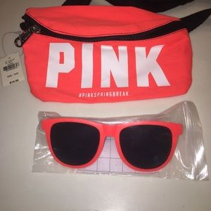 NWT PINK Fanny pack with Sunglasses