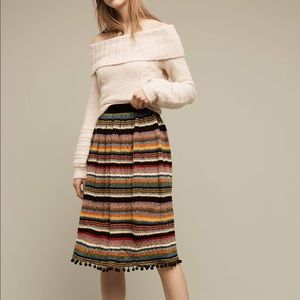 Striped & pommed sweater knit skirt Anthropologie