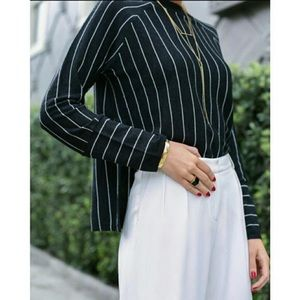 J. Crew Sweaters - J CREW pinstripe side slit sweater