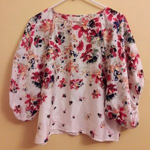 Silky flowy formal floral blouse