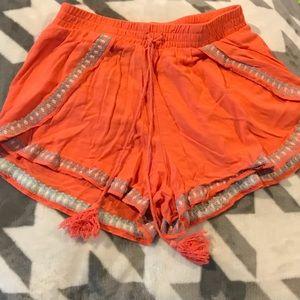 Xhilaration - Coral & Gray Stretchy Tassle Shorts