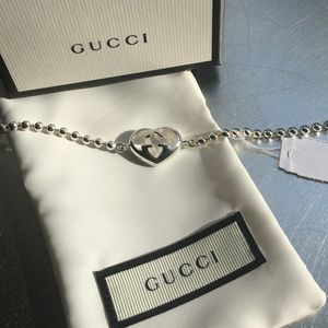 BNWT Gucci silver interlocking bracelet. Authentic