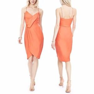 Banana Republic coral drape front dress