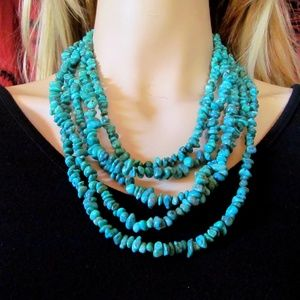 STUNNING Multi-strand Turquoise Sterling Necklace